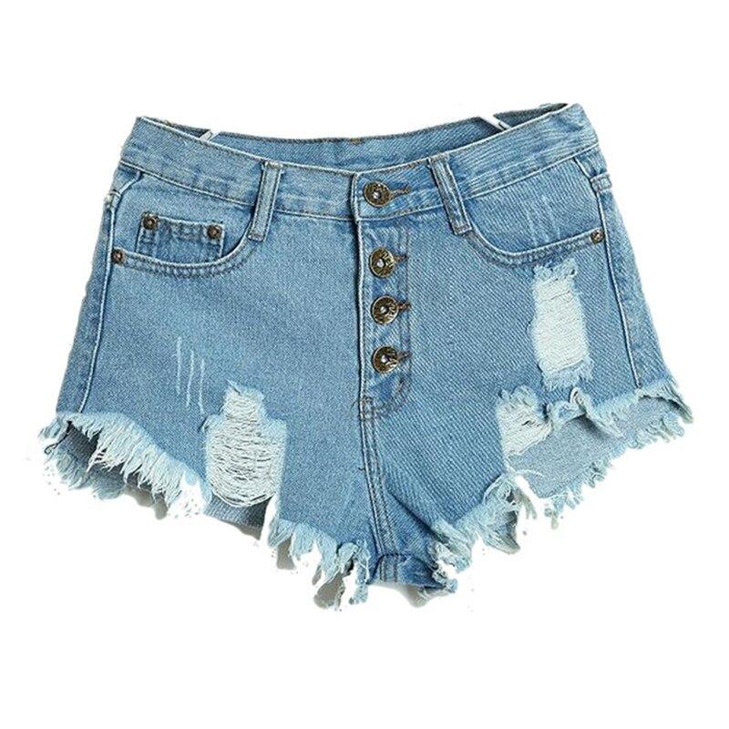 Vanessa Ma's Store 2017 Hot Summer Female Mid Waist Denim Shorts Women Worn Loose Burr Hole Jeans Shorts Blue White Black Denim Shorts High Quality