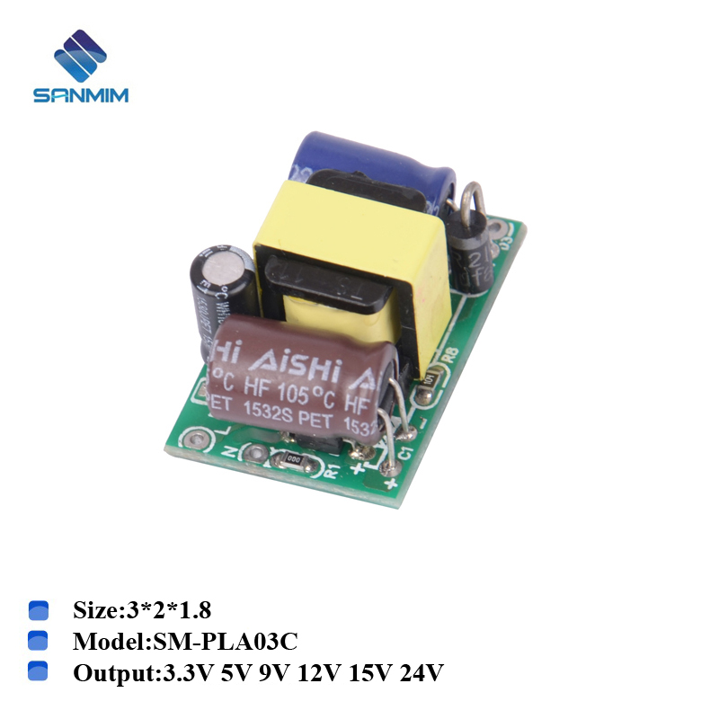 1PCS SANMIN AC220V To DC3.3V 5V 9V 12V 24V 3W Power Supply Isolated Switching Power Supply Module 220V To 9V Bare Board PLB03BC