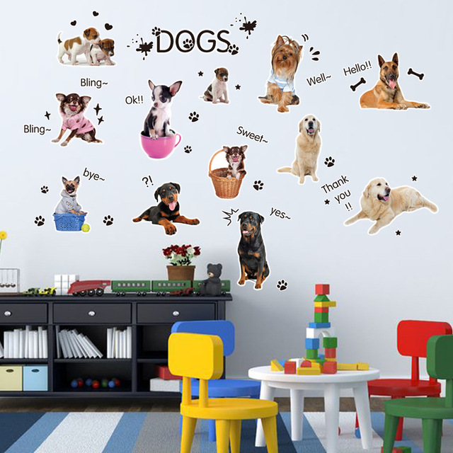 Happy Dog Cartoon Wall Stickers Kids Rooms Stickers Mural Children Bedroom  Papillon Vinyl Infant Decoration Home Part 96