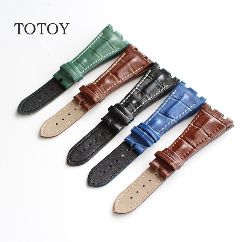 TOTOY New Arrived 28MM Leather Strap For AP Watch Band ,Black Brown Green Bule Genuine Leather Watch Straps,Free Shipping 23mm handmade bule new high qaulity genuine alligator leather watch strap band for brand