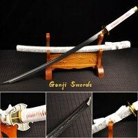 Japanese Samurai Sword White Drawing Sheath Folded Damascus Steel Real Katana Sharp Edge Can Cut Bamboo