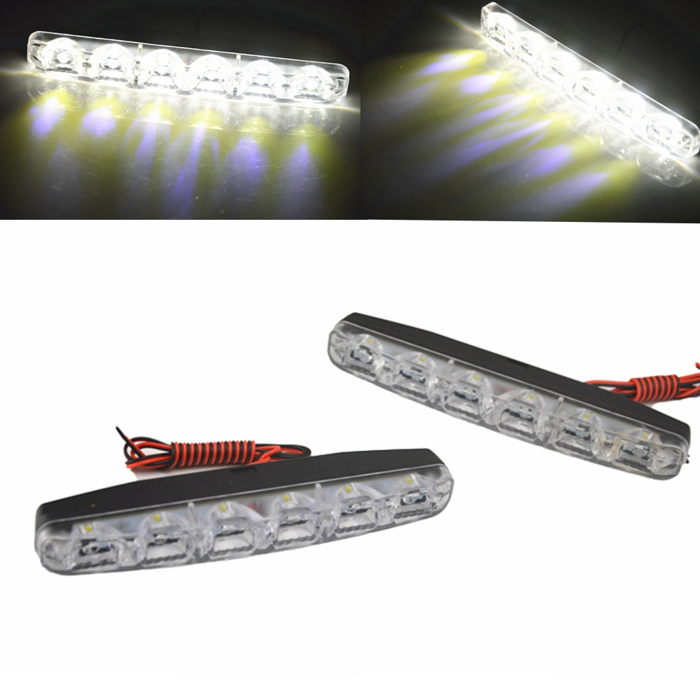 Universal 2pcs Waterproof Car Daytime Running Light 6 LED DRL Daylight White 12V DC Head Lamp External Lights 2pcs universal car daytime running lights 8 led drl daylight kit super white 12v dc head lamp free shipping