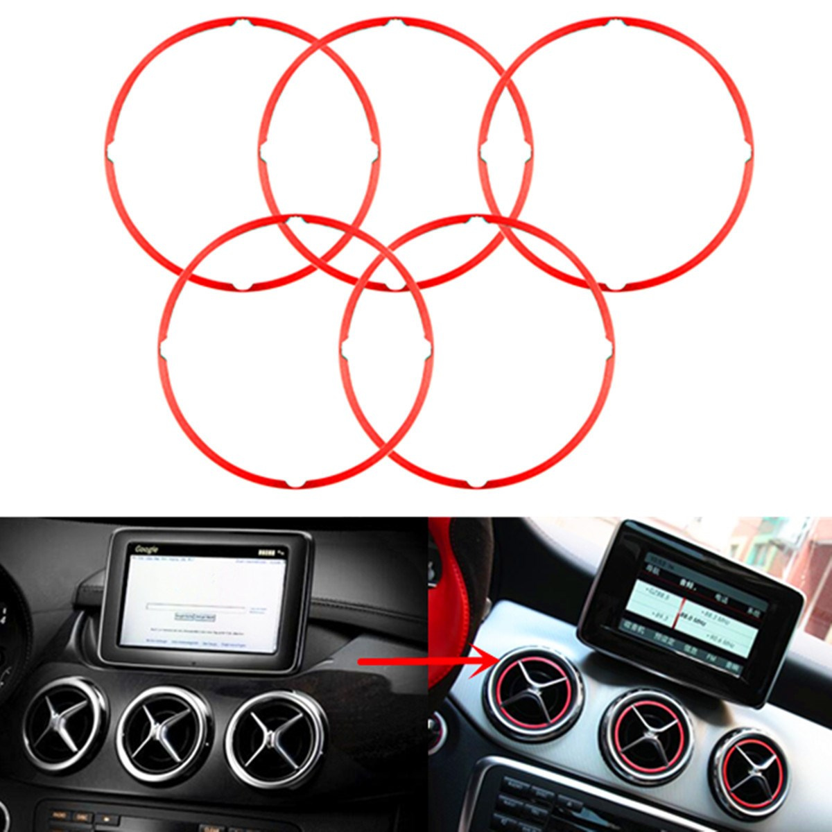 5Pcs /set Red Air Vent Outlet Ring Cover Trims For Mercedes/Benz CLA GLA180 200 220