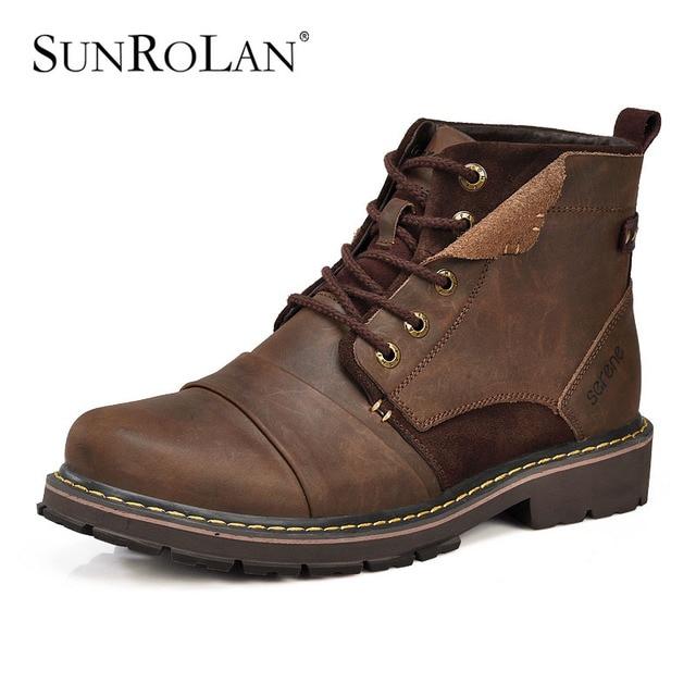 7cadce9a11e2f SUNROLAN Plus Size Stivali da Uomo Invernali Caldi Stivali In Vera Pelle Con  Pelliccia Impermeabile scarpe