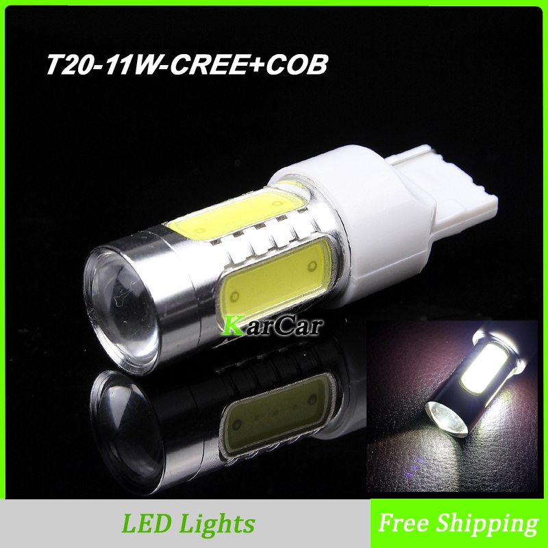 11W T20 CREE chip R5 + COB Chip with Lens W21W LED Reverse Lights, Car Backup Light 7440 Tail Lamps Parking Bulbs Free Shipping