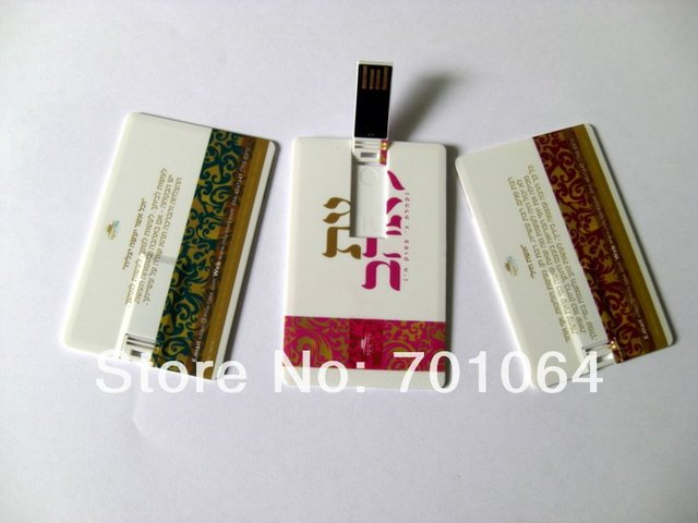 Free shipping: 100pcs/lot  credit Card USB flash drive with full color printing