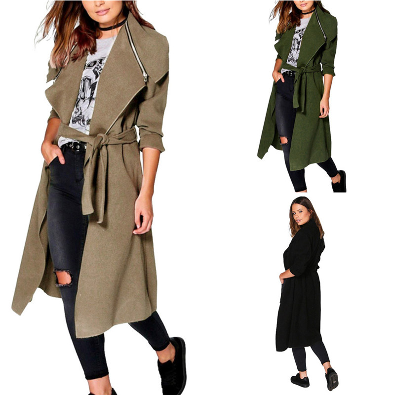 #2533 Winter coat women Coat Trench Oversize Warm Long Sleeve Belt Coat Outwear D45