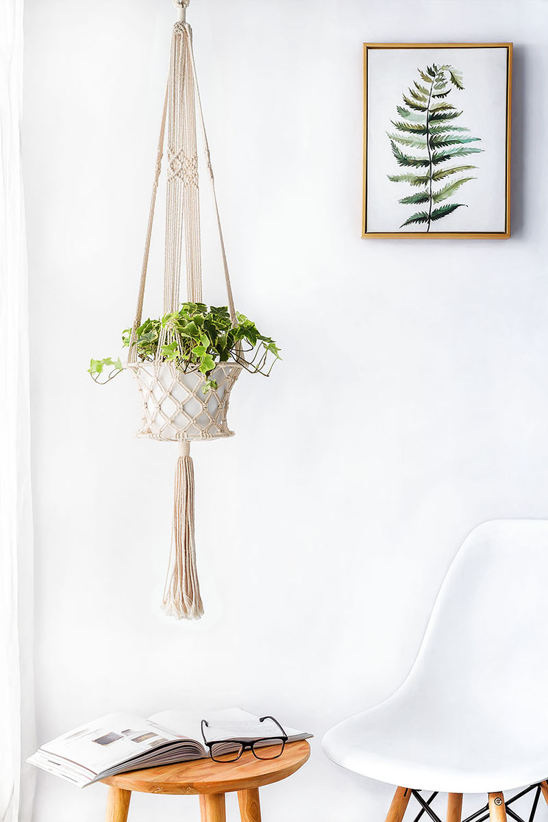 Mkono Macrame Plant Hanger Hanging Planter Plants Basket