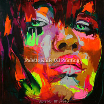 Hand painted Francoise Nielly Palette knife portrait Face Oil painting Character figure canva wall Art picture for living room47