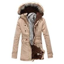 2016 Brand Men s Jacket Long Warm Coat Male Fashion Cotton padded Jacket Fur Hooded Winter