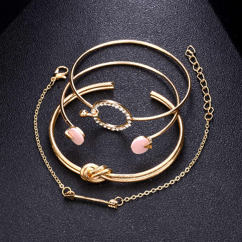 2018 Trendy Bracelet Set Simple Female Jewelry Knot Circle Crystal Arrow Charm Bracelets For Women 4pcs Bracelet Bangle Set