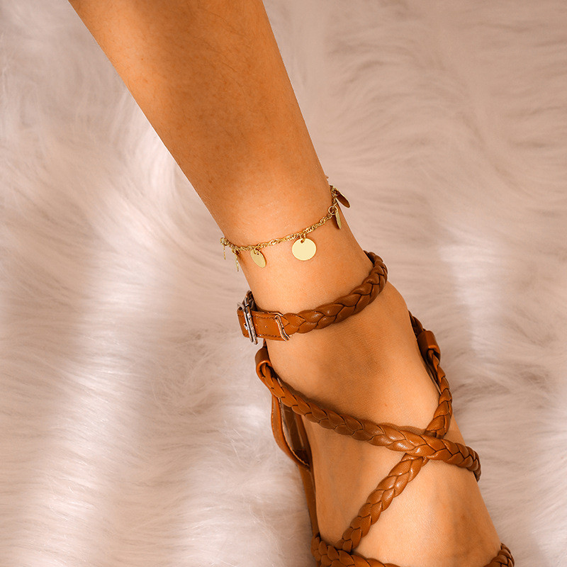 Bohemian Round Sequins Anklets Bracelets Fashion Gold Color Alloy Chain Bulgaria Jewelry For Women