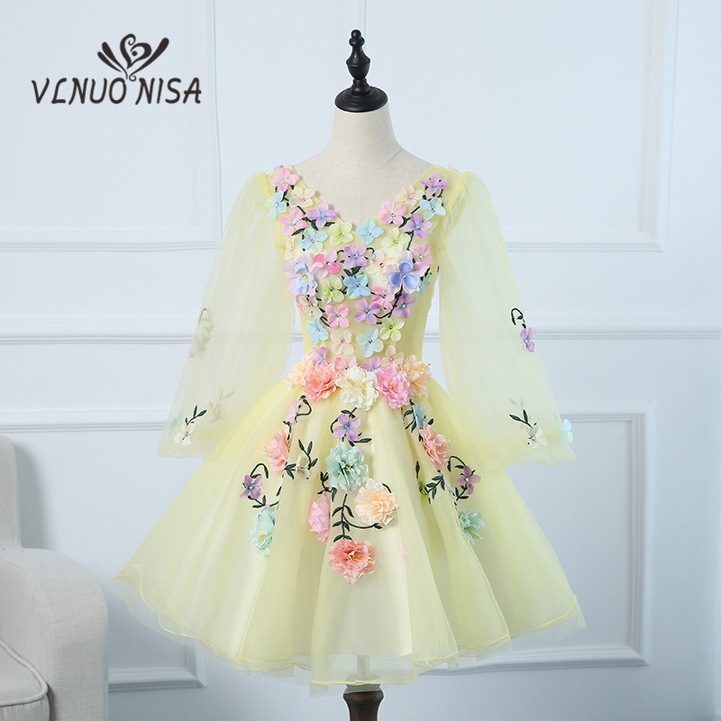 VLNOU NISA Party Stage Cocktail Dresses LongSleeve Summer Short Lady Gown 2018 Formal Dress 3D Applique Colored V-Neckline HR206