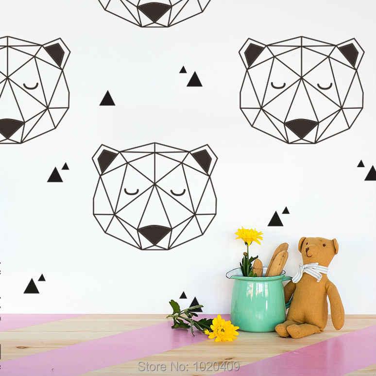 Высококачественные детские товары в скандинавском стиле ins эксклюзивная пользовательская Геометрическая наклейка с медведем в горошек зеленые пвх наклейки на стену