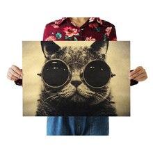 Крутой Кот, черные очки, Декор, винтажная крафт-бумага, фильм, плакат, украшение дома, стены, художественные журналы, ретро плакаты и принты