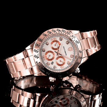 Rose Gold Casual ladies Business Sports Military Stainless Steel Watch 1