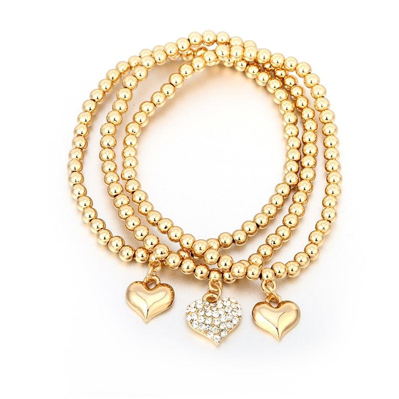 Crystal Heart Gold Color Charm Bracelet For Girl Glass Beads Bracelet For Women DIY Jewelry Gift Blue White Zinc Plated 18cm