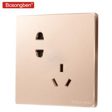 Bcsongben five holes power plug pop socket 10A wall champagne gold large panel two three holes socket AC 220V J3-CW5K(China)