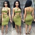 Plus tamaño de las mujeres sexy summer dress 2 unidades conjuntos de tela polar negro vendaje de bodycon verde de dos piezas dress vintage club dress 2016