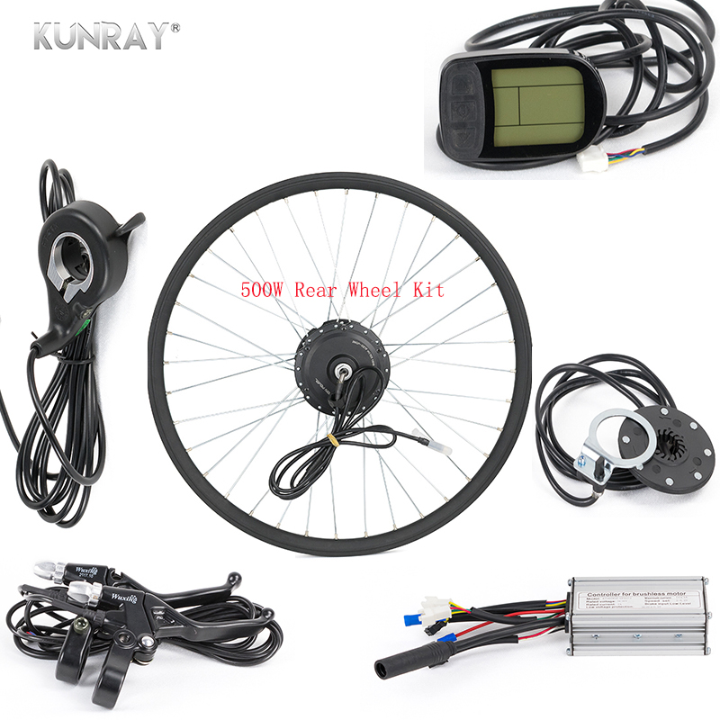 KUNRAY 36V 48V 500W Electric Bicycle Hub Motor Bicicleta E-Bike Conversion Kit For 26inch 28inch 700C Rear Wheel Motor 35km/h bicicleta electrica gear brushless hub motor 500w 36v 48v mountain cycling electric bicycle rear wheel motor kit for e bike