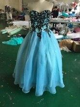 Echt Fotos 2016 Spitze Ballkleid Abendkleid Crystals Schatz-langes Abendkleider Party Kleid vestido de festa vestidos de baile
