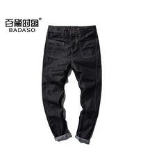 Fashion new large yards in the waist three buckle black straight jeans plus size male M-5XL