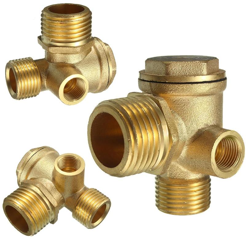 3 port brass central pneumatic valves air compressor check valve thread 90 degree diy home tools. Black Bedroom Furniture Sets. Home Design Ideas