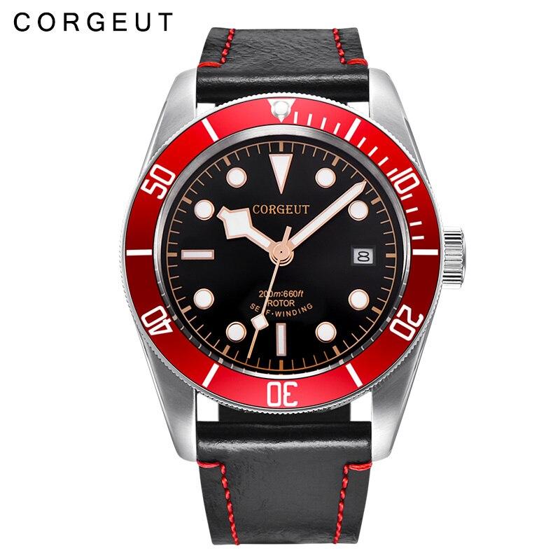 41MM Corgeut Black Dial red Rotating bezel Luminous sapphire glass 20ATM Men miyota 8215 Automatic Watch C5 polisehd 41mm corgeut black dial sapphire glass miyota automatic mens watch c102