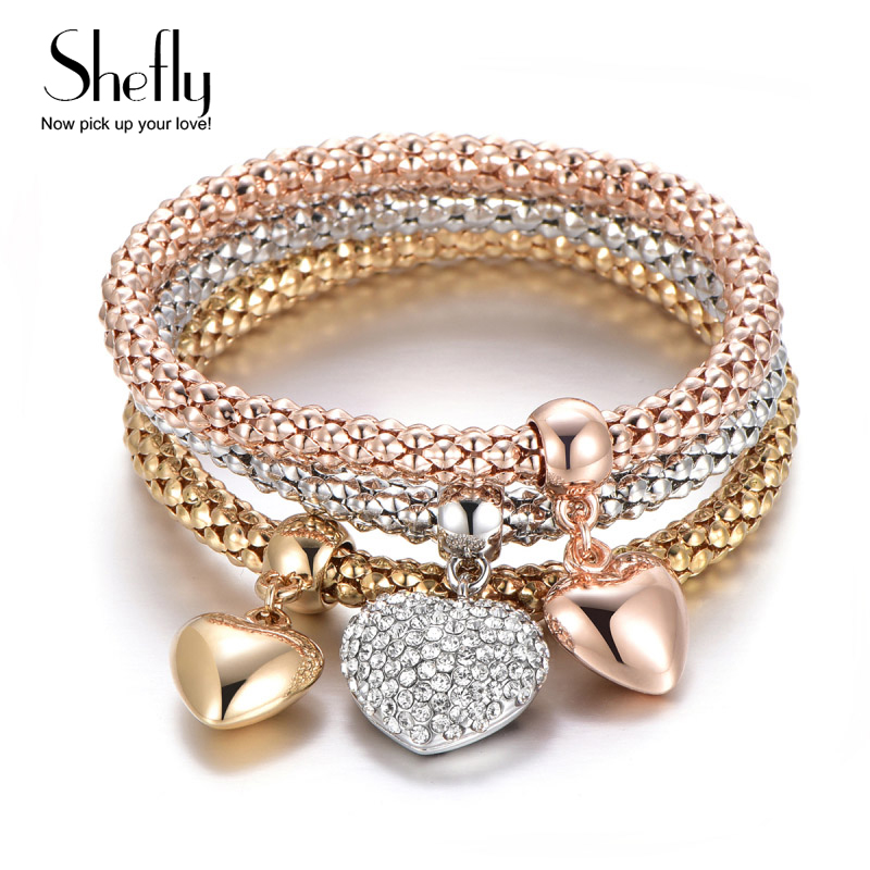 Fashion Designer Austrian Rhinestones Mix Gold Color Heart Owl Charm Bracelets Popcorn Chain Jewelry For Women SL05884