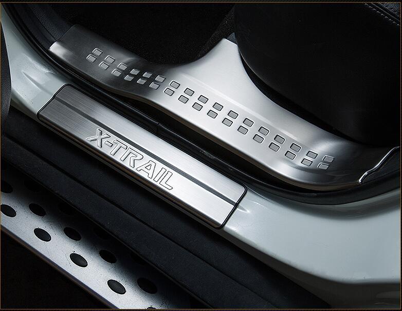 Aço inoxidável de alta qualidade dentro externo Scuff Plate/do Peitoril Da Porta Protector Etiqueta Para 2014-2017 Nissan X- trilha 8 pcs