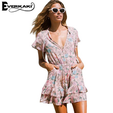 Everkaki 2017 Summer Boho Dress Women Short Sleeve Mini Dresses Back Hollow Out V Neck Dress Casual Beach Vestidos overalls