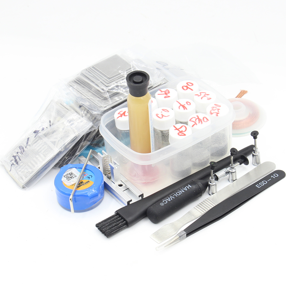 310pcs Direct Heating Metal Template BGA Reballing Stencil Kit Reballing Holder Jig Repair Tool Solder Ball цена