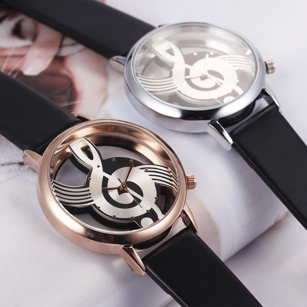 Unik Woman Quartz Analog Hollow Musical Note Style läder WristWatch - Damklockor - Foto 4