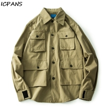 ICPANS Multi-pocket tooling jacket male neutral wind Japanese retro casual tide mens clothing