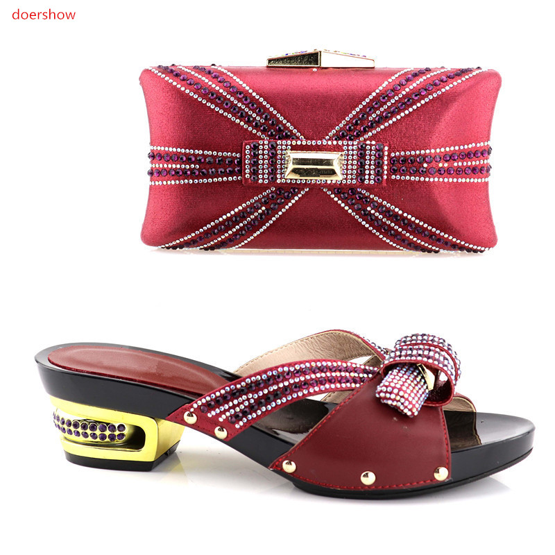 doershow Italian Shoes With Matching Bags Set For Party African Nigeria Wedding Shoe And Bag To Match With Stones By fre XA05-18 doershow african shoe and bags matching set women shoe and bag to match for wedding italian matching shoes and bags sqv1 7