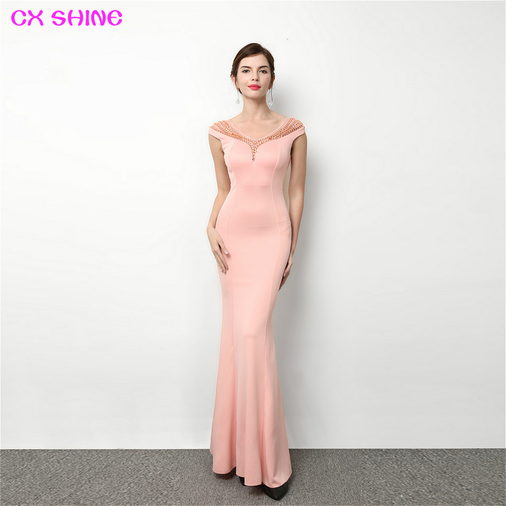 CX SHINE V NECK blue pink red beading mermaid trumpet long evening dresses robe de soiree