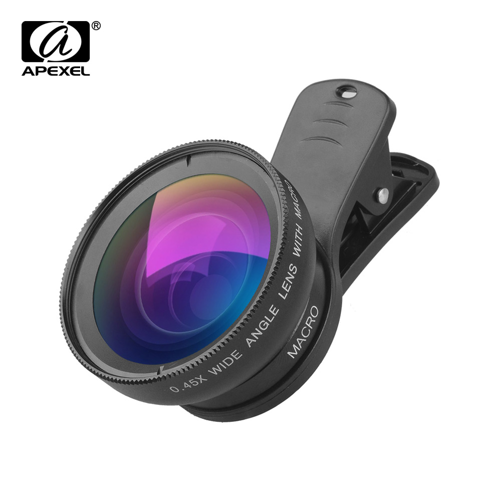 US $8 79 30% OFF|APEXEL APL 0 45WM Phone Lens 0 45X Super Wide Angle 12 5X  Super Macro Lens HD Camera Lenses for iPhone Samsung Huawei Xiaomi-in