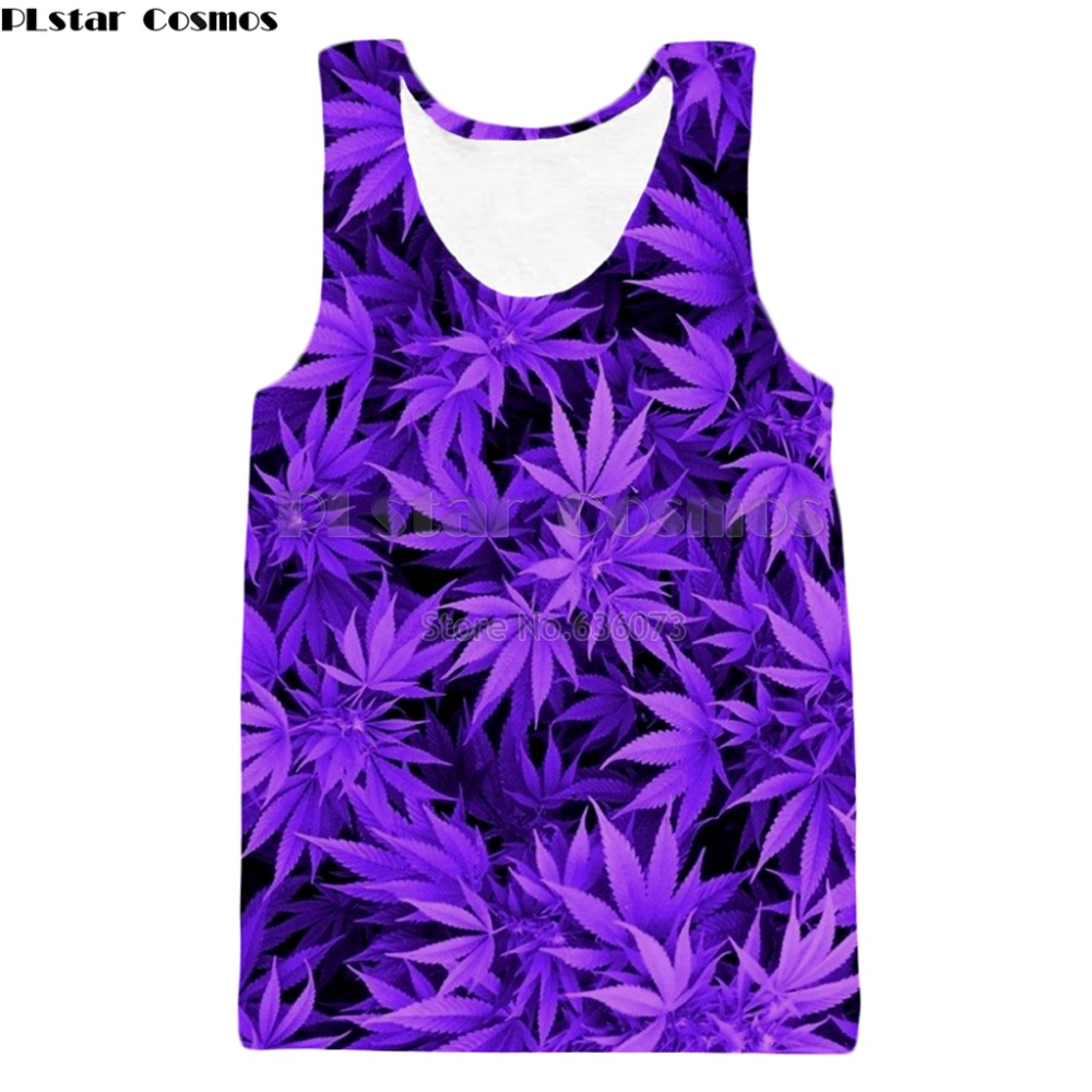 PLstar Cosmos Brand clothing 2018 summer New Fashion vest Harajuku style   Tank     tops   Purple weed Print 3d Mens Womens vest