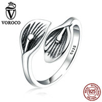 VOROCO 100 Real 925 Sterling Silver Resizable Ring For Women Females Vintage Leaf Adjustable Finger Rings