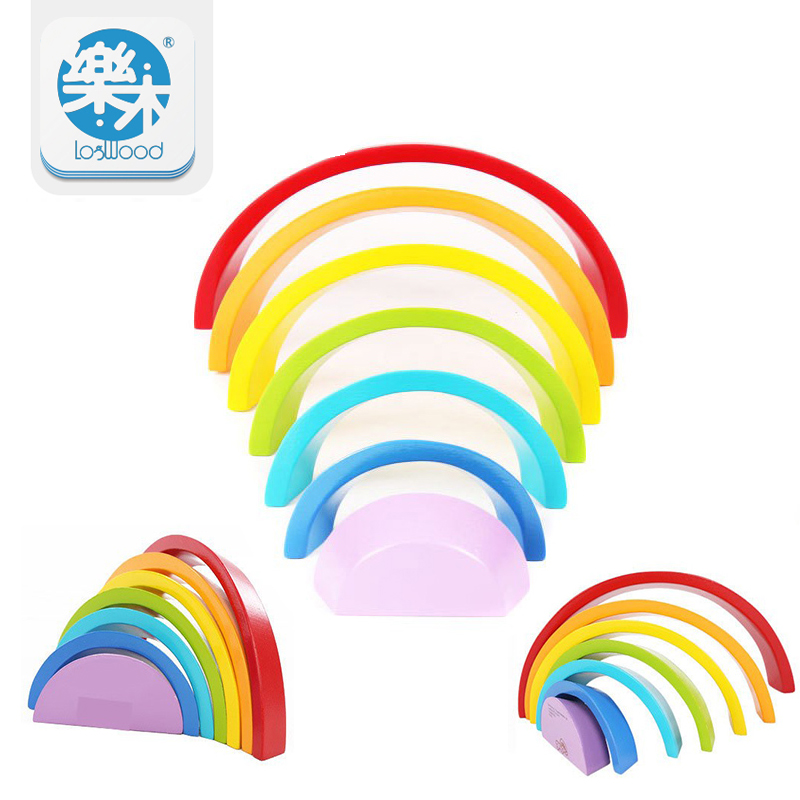 7Pcs/Lot Colorful Wood Rainbow Building Blocks Toys Wooden Blocks Circle Set Baby Colour Sort Play Game Toy Montessori hot 120 rainbow domino the wooden building blocks baby toys for infants toys aug 31