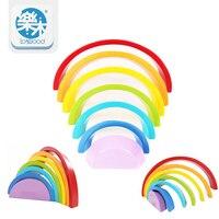7Pcs/Lot Colorful Wood Rainbow Building Blocks Toys Wooden Blocks Circle Set Baby Colour Sort Play Game Toy Montessori