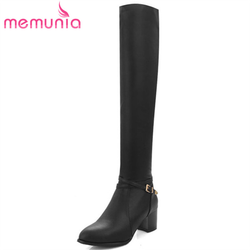 MEMUNIA Over the knee boots for women autumn winter zip high heels shoes fashion womens boots pointed toe big size 34-43 цены онлайн