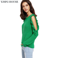YJSFG HOUSE Casual 2017 Autumn Winter Knitwear Pullover Women Off Shoulder Knitted Sweater Tops Long Sleeve Pullovers Jumpers