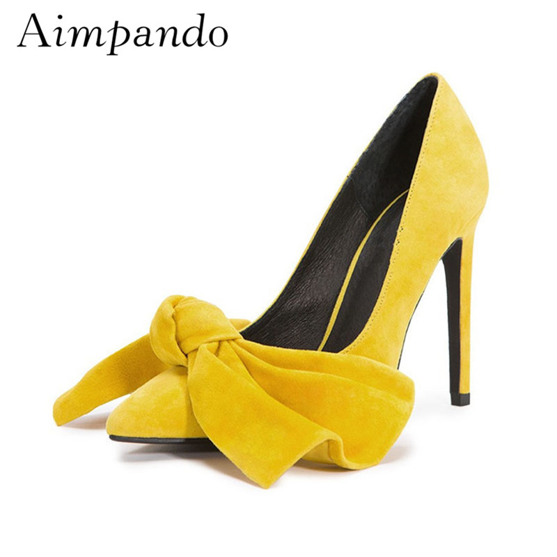 Big Butterfly knot High Heeled Pumps Pointy Toes 10cm Heels Sweet Yellow Pink Ladylike Shallow Party