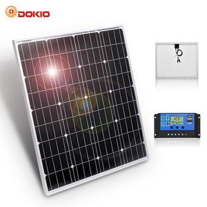 DOKIO бренд 80 Вт 18 вольт черная солнечная панель Китай + 10A 12/24 вольт usb контроллер 80 Вт панели солнечные гарантия качества