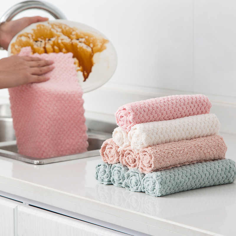 1pcs Super absorbent Cleaning Cloth Microfiber Kitchen Towel Dish Washing Cloth High-efficiency Table Household Cleaning Towel