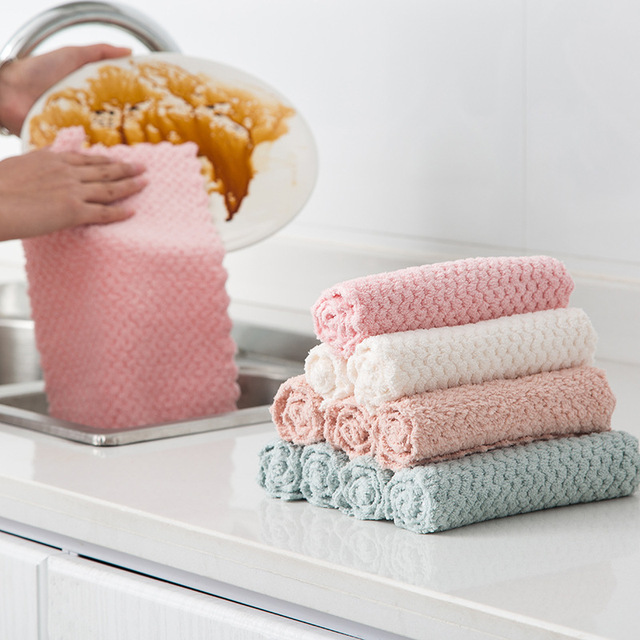 1 pcs Panno di Pulizia Super assorbente Asciugamano In Microfibra Cucina Piatto