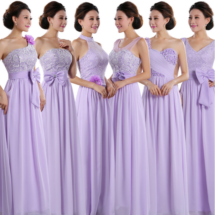 bridesmaid sexy size 14 long bride maids dresses lavender chiffon ...