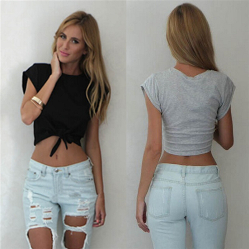 1c807f7cb3a57b White Grey Color Casual Cute Front Women Knotted Tie Crop Tops Cropped T  Shirt Blouse Tanks camis-in Tank Tops from Women s Clothing on  Aliexpress.com ...