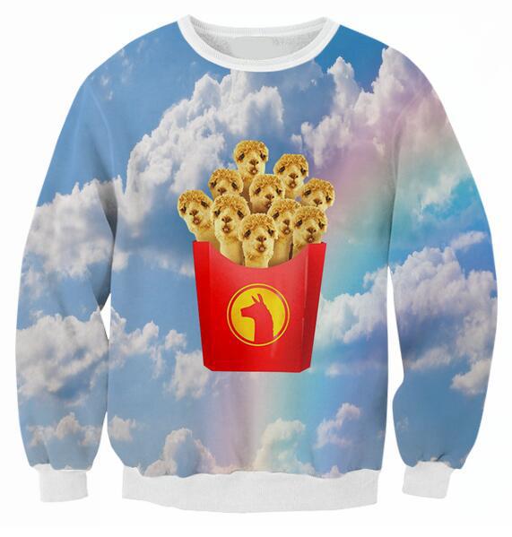 967b396101e8 New Spring Autumn Crewneck Llama Fries Sweatshirt Sky Camel 3D Print Hoodie  Girl Pink Blue Sky